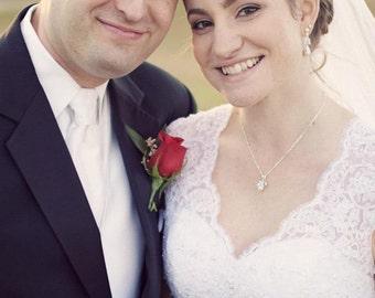 Pearl Drop Wedding Necklace, Cubic Zirconia Bridal Necklace, Pearl Drop Bridesmaids Necklace, Mother of the Bride
