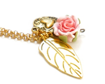 Romantic Pink Rose Gold Dangle Heart Leaf Long Necklace - Bridal Jewelry - Bridesmaids Gift Idea - GN03