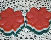Shamrock Soap for St. Patrick's Day - Tri-color Shamrock Soap - Set of 2 Shamrock Soaps- Orange, White and Green Shamrock Soap