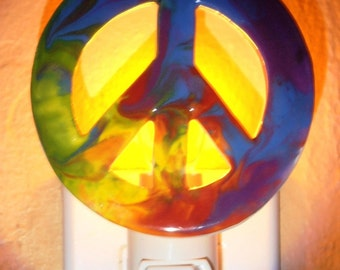 Night Light Ornament Psychedelic Peace Sign  #NL034