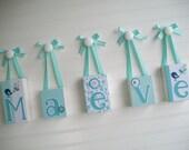 Baby Name Letters.  Name Blocks .Land of Nod Dream Girl . Nursery Decor . Aqua . Baby Letter Blocks . Wood Name Blocks . Bedding