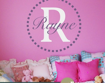 Girl's Monogram Name Wall Decal - Bedroom Wall Decor - College Dorm Wall Decal - Personalized Wall Decor - WD0194