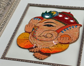 Made to Order Handmade  Paper Quilling Lord Ganesha Framed Wall Art, Paper Quilled Lord Ganesha,Elephant God