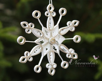 Paper Quilled Snowflake Ornament in White with a Touch of  Gold in a gift box