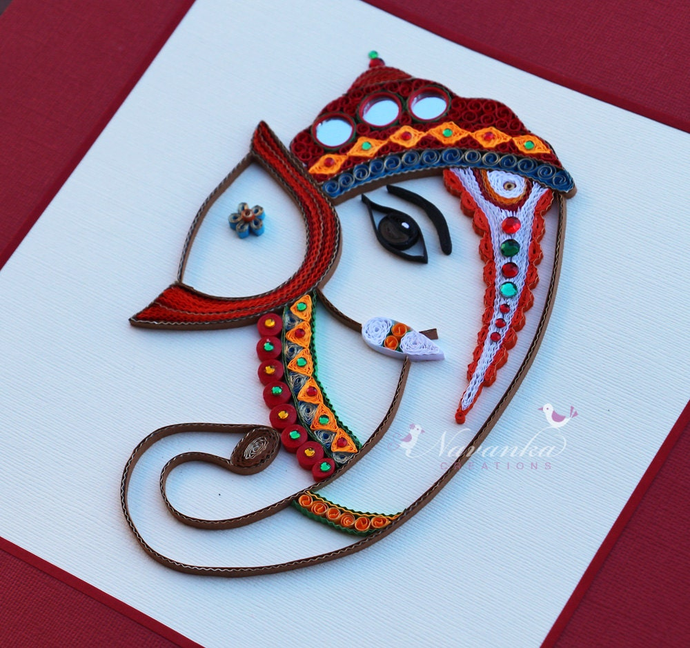 Quilling Wall Art Design : Made to order handmade paper quilling lord ganesha framed
