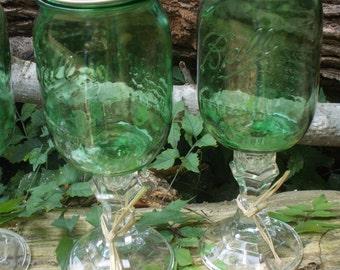 Set of 2 Green  Mason Jar Wine Glasses, pint size