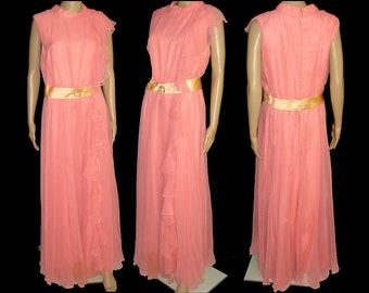 Vintage 1960s Dress  . Vintage 1960s Jumpsuit .  60s Palazzo One Piece . Pink Coral Chiffon Cocktail Garden Party Mad Men Rockabilly