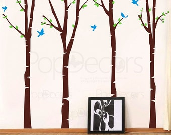 """Trees Wall Decal Pediatric Wall Murals Nursery Baby Trees- Super Big Colorful Birch Trees(102"""" H) - Free Squeegee Removable Vinyls pt0136"""