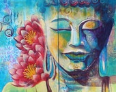 ORIGINAL ARTWORK Meditating Buddha with two Lotuses