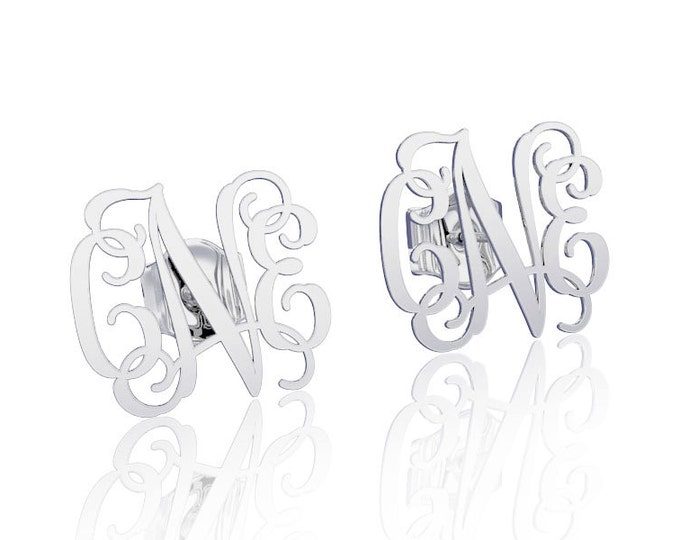 Silver Monogram earrings Personalized Name letter earrings initial earring, nameplate earring
