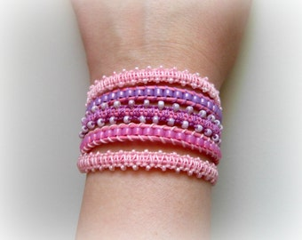 Cotton Candy 5 x Leather Wrap Macrame Bracelet, Bollywood Bracelet, Adjustable, Elephant button