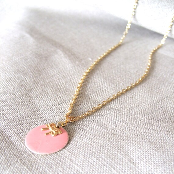 Delicate Bow Brass & Enamel Charm Necklace / Your Choice of Colors / Personalized Gift / Bridesmaid Gifts / Bridesmaid Necklace