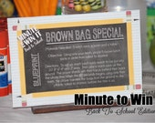 Minute To Win It Back To School Edition Printable - Family Game Night, Classroom Party Summertime INSTANT DOWNLOAD