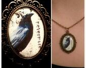 Edgar Allan Poe The Raven Cameo Necklace, Nevermore Raven Cameo Pendant Necklace