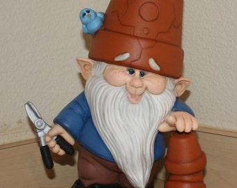 Garden Gnome Crackpot with Bluebirds and holding Garden Clippers hand painted Home Decor Item