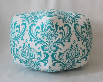 "24"" Ottoman Pouf Floor Pillow Ozborne Damask"