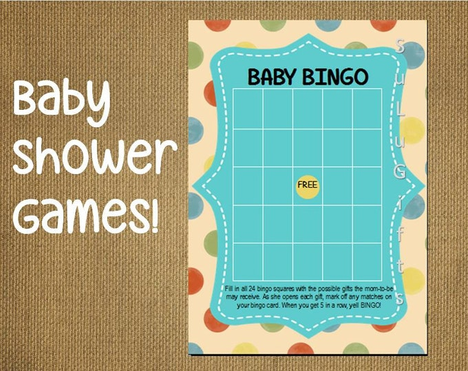 Bingo Baby Shower Game - Instant Download Printable PDF File ~ Happy Dots Design - Baby Bingo Game