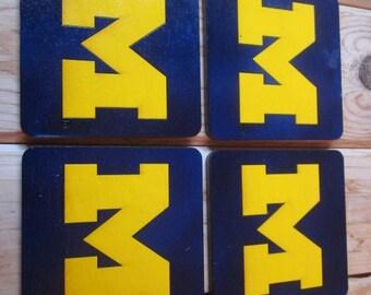 University of Michigan Coasters (Set of 4) - Block M - Maize