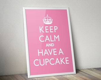 "Kitchen Wall Hanging ""Keep Calm And Have A Cupcake"" Home Decor Art Print"