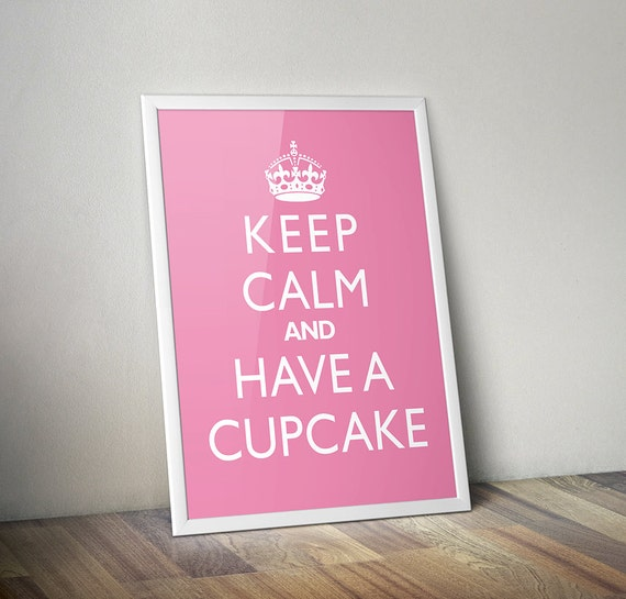 """Kitchen Wall Hanging """"Keep Calm And Have A Cupcake"""" Home Decor Art Print"""