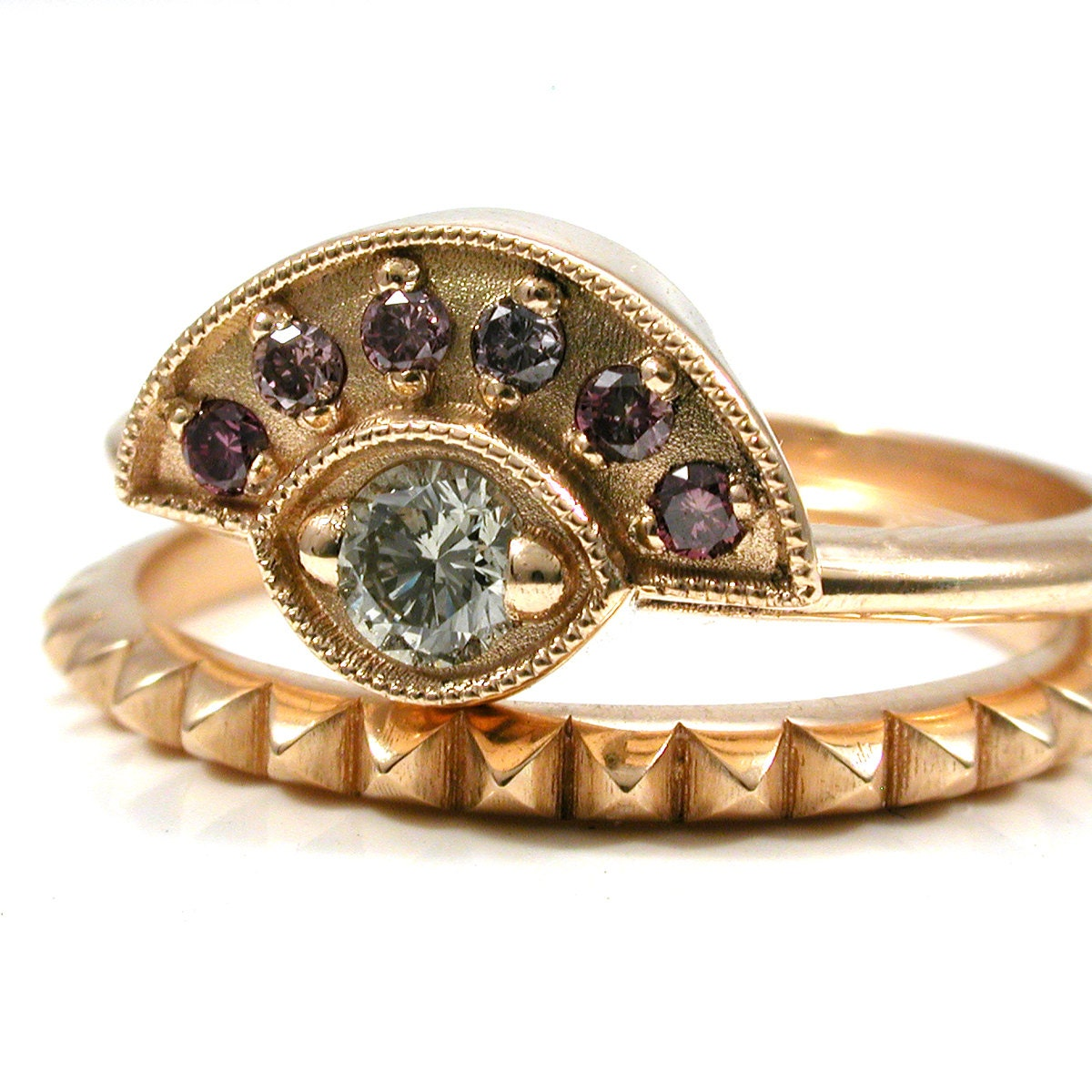 Purple And White Diamond Egyptian Engagement Ring Set 18k