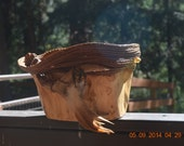 gorgeous hand carved wood and pine needle bowl