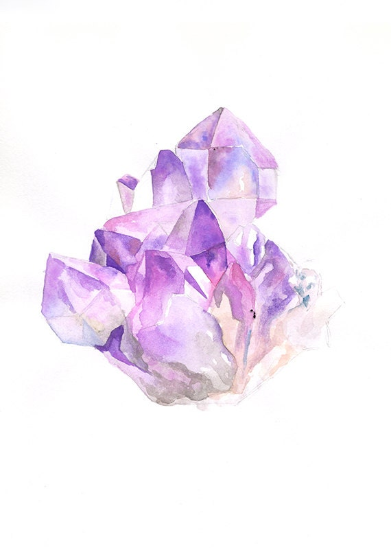 Amethyst cluster 8 x 10 art print for Paintings of crystals