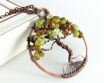 Wire Wrap Jewelry Tree Of Life Necklace  Copper Jewelry Green Garnet Necklace Copper Necklace Wire Wrapped Pendant