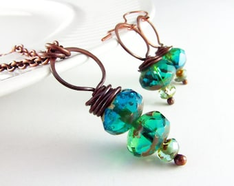 Wire Wrapped Necklace Earrings Set Turquoise and Copper Necklace Wire Wrapped Jewelry Czech Picasso Glass Copper Jewelry