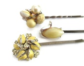 Yellow Wedding Hairpins Spring Bridal Hair Accessories Vintage Jewelry Hairpiece