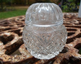 Vintage Small Crystal Cut Glass Jar With Lid Top Cover Container Clear Collectible Vanity Powder Jar