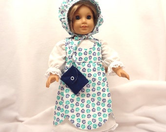 Five piece outfit, for 18 inch dolls, Navy blue and medium green on white with white lace trim.