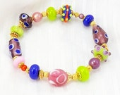 Pink, Lime and Purple Glass Bead Bracelet, 6 3/4 inches (17.2cm) M to L, Lampwork Glass Beads with Gold Vermeil Accents Stretch Bracelet