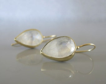 Rainbow moonstone drop earrings, Solid Gold moonstone earrings, Moonstone jewelry