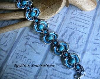 Micro macrame bracelet. Beaded turquoise bracelet. Macrame jewelry.