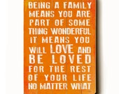 Wooden Art Sign Planked Being A Family - coral wall decor typography