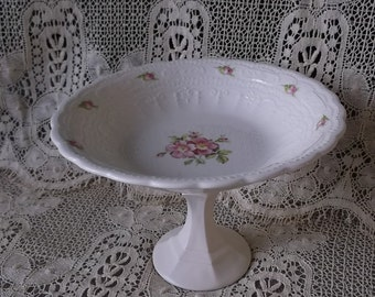 Upcycled pedestal dish, French country Charming, white, pink roses, Romantic cottage