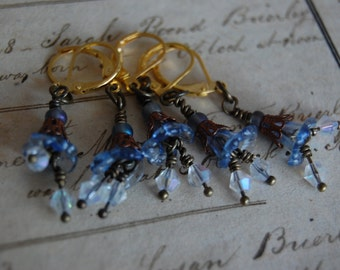 Blue Art Nouveau Inspired Removable CROCHET Stitch Markers