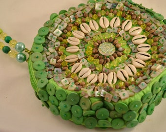 Beaded Shell and Wood Beads Mido Collection Style Lime Green Summer Purse or Handbag Womens Birthday Gift for Her