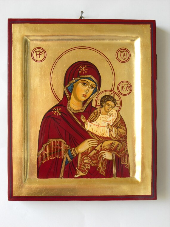 Madonna with Child Jesus, Russian Byzantine Icon- Greek Russian Orthodox icons- religious painting of the Madonna- religious iconography