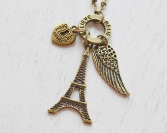 eiffel tower necklace,bridesmaid gift,wing necklace,believe,relationship necklace,romantic necklace,lariat,heart jewelry,angel wing necklace