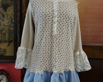 Upcycled Cotton Knit Top,Bohemian Top, Folk Top,Feminine Top,Eco Top,Upcycled Top,by Nine Muses Of Crete.