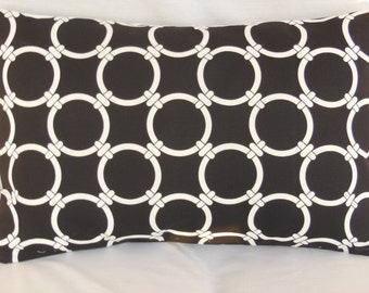 Black Lumbar Pillow Cover Throw Pillow Decorative Accent Cushion Black White Links All Sizes Couch Pillow Bed Pillow Decor