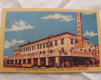 Vintage Pioneer Club Casino Hotel Las Vegas Nevada NV Linen Post Card Souvenir 1930s UNUSED
