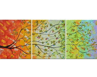 Original Modern Colorful Large Abstract,  Textured Impasto, Knife Tree Painting, 60x24 Mixed media, Oil painting, tree of life, money tree