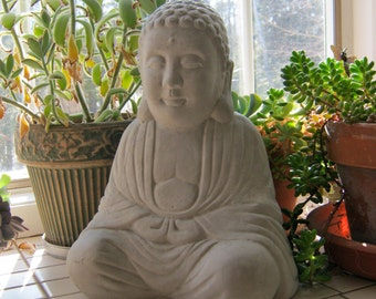 Buddha Statue, Large Buddhism Concrete Figure, Unpainted Cement Garden Decor