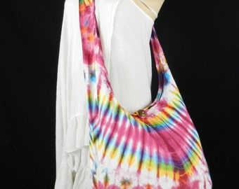Fishbone Tie Dye Bag Purse Hobo Hippie Sling Crossbody Messenger Classic Top Zip OAK XL VY2