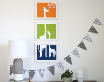 Nursery Art Prints - Giraffe Buddies, set of 3