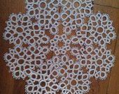 Tatted lace mat doily applique white cotton