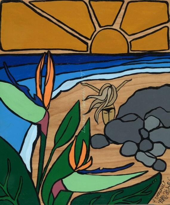 8x10 Giclee Print Yoga Sun Salutation Yoga on the Beach Enlightened Surf Art by Lauren Tannehill ART